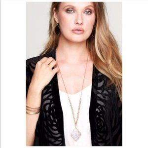 Marquee Silver Gold Pendant Necklace & Earrings